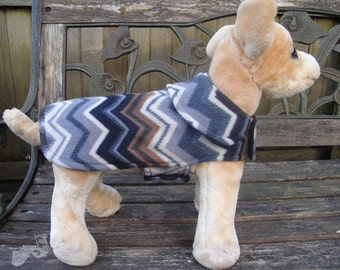 Dog Jacket -  Multicolor Zig Zag Fleece Coat- Size XX Small- 8 to 10 Inch Back Length - Or Custom Size
