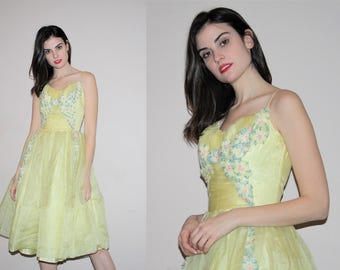 50s Clothing - Vintage 1950s Pinup Bombshell Pastel Yellow Floral Cocktail Cupcake Prom Wedding Dress - Vintage 50s Dresses - WV0032