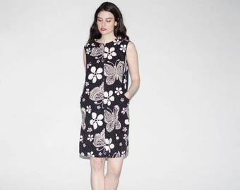 On SALE 40% Off - Vintage 1960s Dress - Mod 60s Dress  - The Binary Butterfly Dress   - WD0159