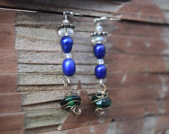 Blue Pearl and Blue Glass Hanging Earrings