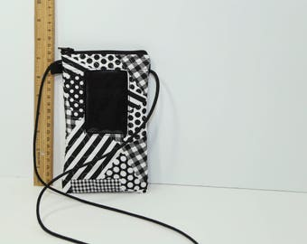 ID phone case passport holder in Black and White geometric patchwork