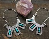 beaded metal hoop earrings, Molino hoops, tribal metal beaded hoop earrings