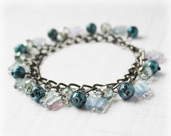 50% OFF SALE Crystal Bracelet Cluster Bracelet Glass Bead Bracelet Cha Cha Bracelet Boho Bracelet Elegant Bracelet Shaggy Bracelet Blue Brac