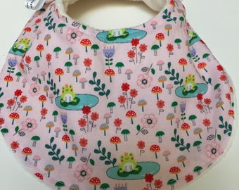 Bib, Classic Style Dribble  fairytale frogs pink