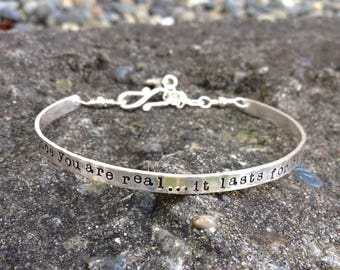 Custom Stamped Sterling Phrase Cuff - 11 FONT CHOICES