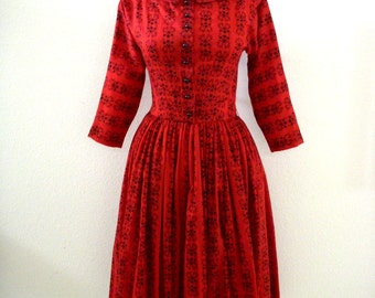 Vintage 1950s RED Dress by Lanz - Red 50s Day Dress with Full Skirt - Cotton Rockabilly Dress - Size Small to Medium