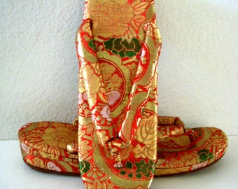 Vintage 60s Brocade Japanese Zori Shoes - Metallic Gold and Red 1960s Japanese Wedge Thong Zori Sandals - New Old Stock - Size 7 estimated