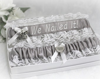 Handcrafted Personalized Wedding Garters - Choice of Profession and Colors Garters - Carpenter's Wife  Wedding Garters - We Nailed It!