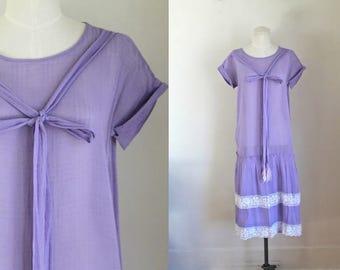 vintage 1920s cotton dress - LILAC LOVE 20s purple gauze dress / S