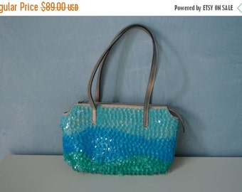 Sale 20% OFF Retro Maison Saad Pweter Leather Purse with Wavy Crystal Drops