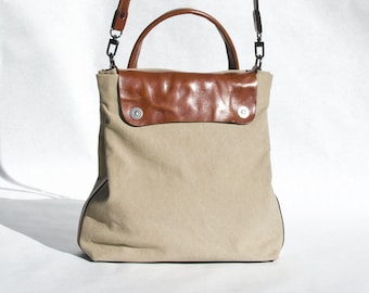padbag TRAVELPURSE for modern ladies - - KHAKI canvas and LIGHTBROWN leather