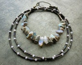 Rough Opal Necklace, October birthstone jewelry with raw white Ethiopian opal chips, rustic Bohemian bead necklace
