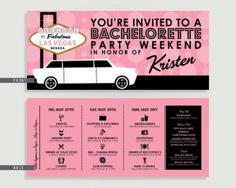 Las Vegas Bachelorette Party Weekend Invitation with Itinerary - Personalized Printable File or Print Package Available  #00009-PI10