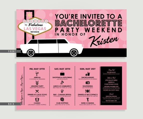 Las Vegas Bachelorette Party Weekend Invitation with Itinerary