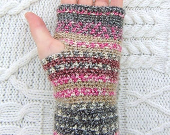 Pink Red Wrist Warmers, Crochet Fingerless Gloves, Wool Blend Wristwarmers,  Handmade in Ireland