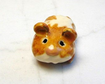 Teddy Bear Hamster  - Terrarium Ceramic Figurine - Hamster Figurine - Small Pet Hamster - Pottery Animal - Red and White  Hamster