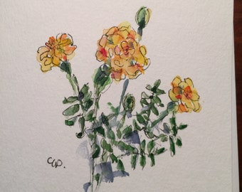 Marigolds Watercolor Card / Hand Painted Watercolor Card