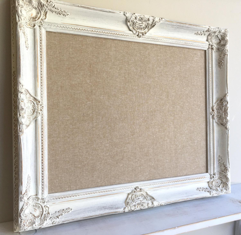 Fabric Wall Boards : Fabric memo board gallery wall linen tan white