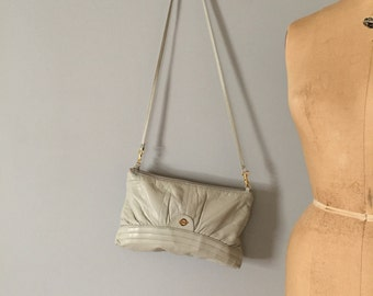 cloudy gray leather purse | slouch leather bag or clutch