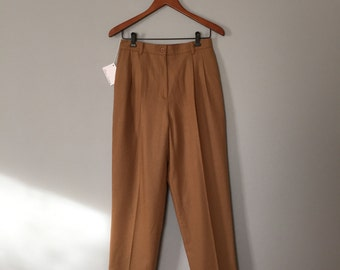 cafe au lait wool pants | warm equestrian cigarette trousers