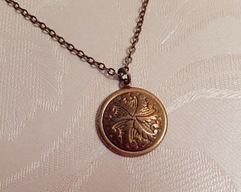 Button Necklace, Vintage Button Pendant, Vintage Jewelry, , Gift for Her