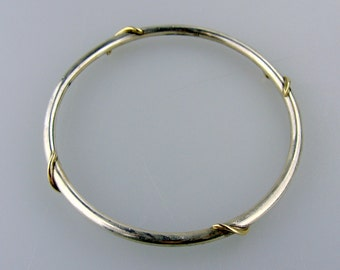 Sterling Silver Bangle Bracelet with 14K Gold Accents