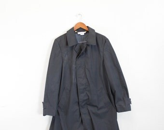 Vintage Black Rain Jacket Trench Coat by Sportcaster International