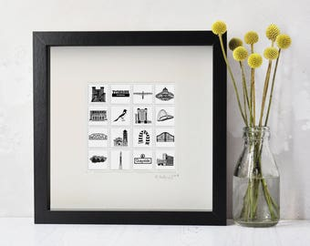 Newcastle Art - Newcastle Print - Newcastle Art - Present for Geordie - Newcastle Gift - Gift from Newcastle - Newcastle Skyline