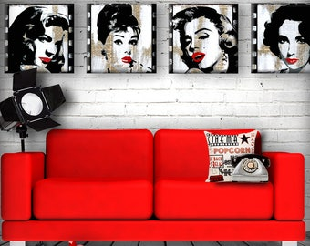 Film Fatales Set of Four 5, 6, 7 or 8 inch Handmade Glass and Wood Wall Blox from Dictionary page book art - WilD WorDz