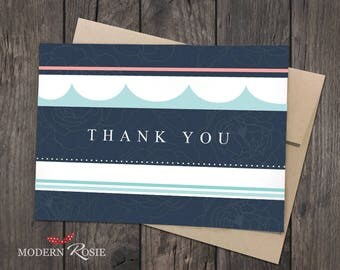 Elegant Nautical Stripe Thank You Cards - Set of 10 folded greeting cards and envelopes