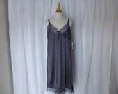Slip Dress 42/44 Plus Size Espresso Brown Glam Garb Handmade USA Romantic Nightgown Victorian Full Slip Vintage Hand Dyed Rockabilly Boho