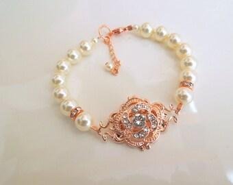Ivory swarovski Pearl bridal Bracelet Rose Gold Bracelet crystal bracelet Pearl Rhinestone Bracelet wedding Rhinestone Bracelet ROSELANI