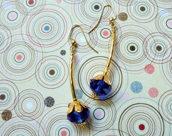 Sapphire Blue and Gold Flower Drop Earrings (3227)
