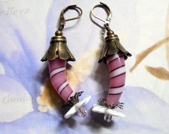 Pink, Maroon and White Striped Boho Fantasy Flower Earrings (3274)