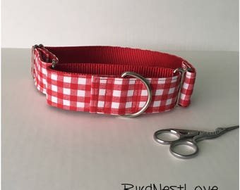 Red and White Picnic Gingham Plaid 1.5 Inch Martingale Dog Collar