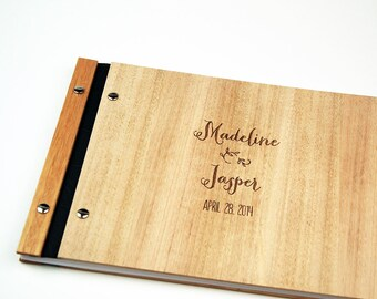 Wedding Guestbook. Wood Guest Book. Wedding Gift. Engagement Gift. Bridal Shower | whimsical design