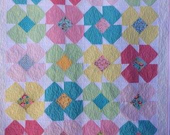 Baby Girl Quilt, Flower Power, Baby Girl Crib Quilt, Baby Girl Quilt by Dreamy Vintage Sheets