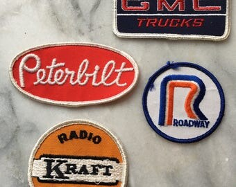 Vintage 70s Trucking Patches Roadway, GMC Trucks, Peterbilt and Kraft Radio Control