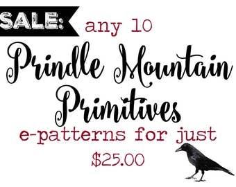 SALE! 10 Prindle Mountain Primitives epatterns for just 25 dollars