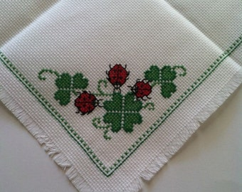 Completed Good Luck Cross Stitch Bread Cloth - Lady Bug Bread Cloth , Green Shamrock Bread Cover, St. Patrick's Day Cross Stitch Bread Cloth