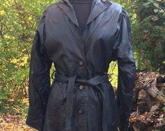 Vintage 80s Black Leather Coat