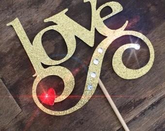 Glitter Engagement Love Cake Topper. Bridal Shower Cake Topper Yes! Cake Topper
