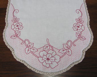 Vintage Hand Embroidered Pink Floral Table Runner Dresser Scarf With Crochet Trim