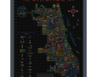 Neon Neighborhood Map of Chicago