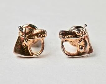 Horse Earrings Equestrian Goldtone Post Earrings Vintage Jewelry Kentucky Derby Horse Animal Figural Costume Jewellery Horse Races