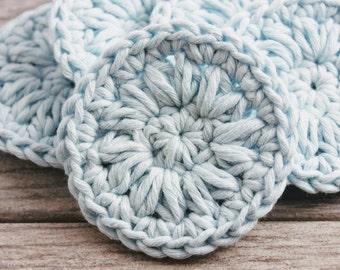 Hemp and Cotton Face Rounds - Reusable Facial Pads - Crocheted Face Rounds - Crochet Face Scrubby Set - Facial Cleansing Pads - Scrubby Se