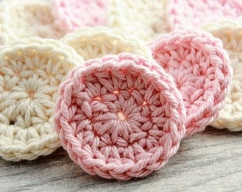 Crocheted Face Scrubby Set - 10 Small Cotton Rounds in Pink and Cream - Reusable Cotton Rounds - Small Makeup Remover Pads