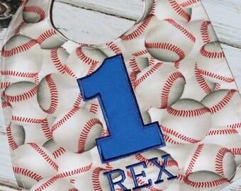 Baseball Birthday Bib, Boy's First Birthday, FREE MONOGRAMMING, Americana Baseball Theme, Smash Cake Outfit
