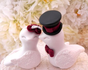 Love Birds Wedding Cake Topper, White, Burgundy and Black, Bride and Groom Keepsake, Fully Customizable