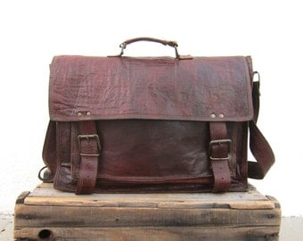 Satchel Briefcase Messenger Bag Goat Skin Leather Rugged Tan Work Bag